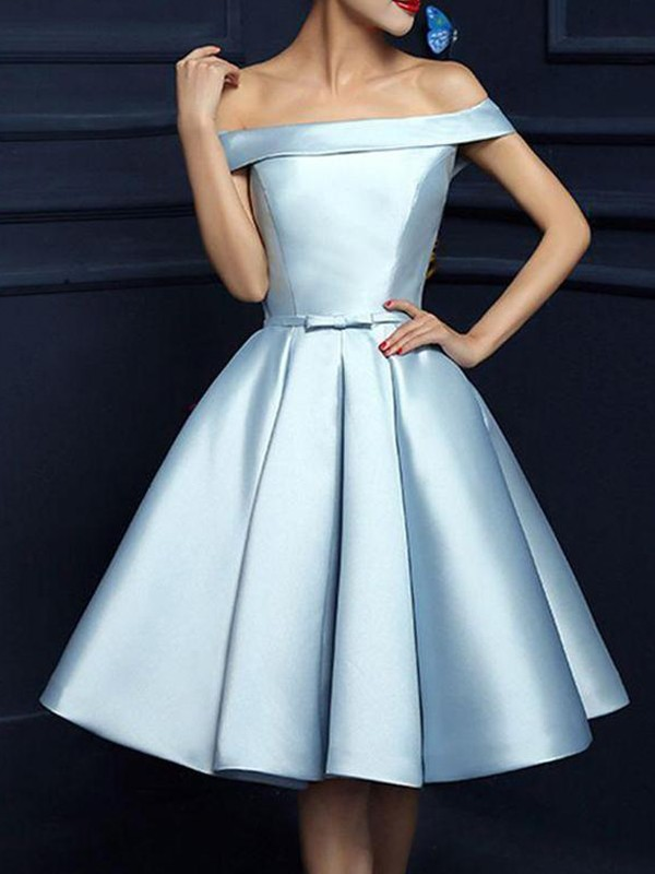 A-Line Satin Off-the-Shoulder Sleeveless Knee-Length Dress