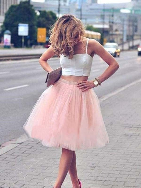 A-Line Tulle Spaghetti Straps Knee-Length Two Piece Dress