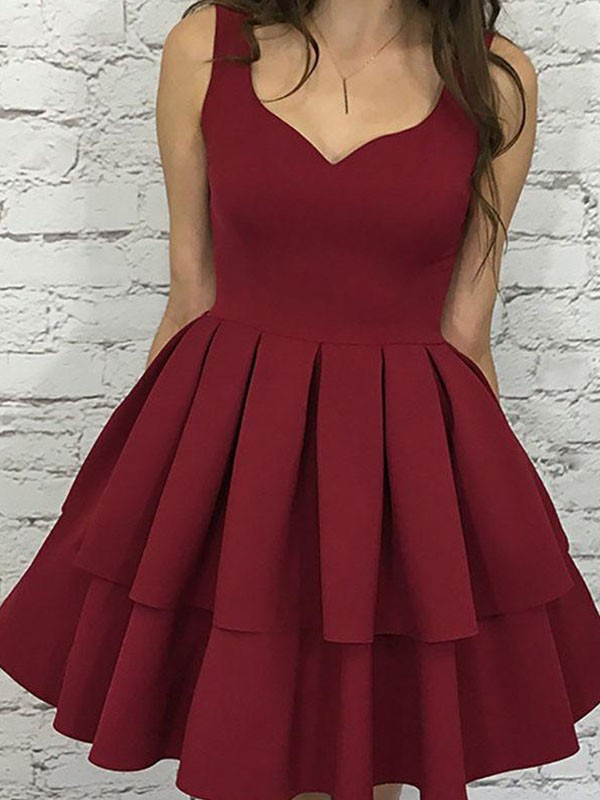 A-Line Sleeveless Straps Satin Short Dress