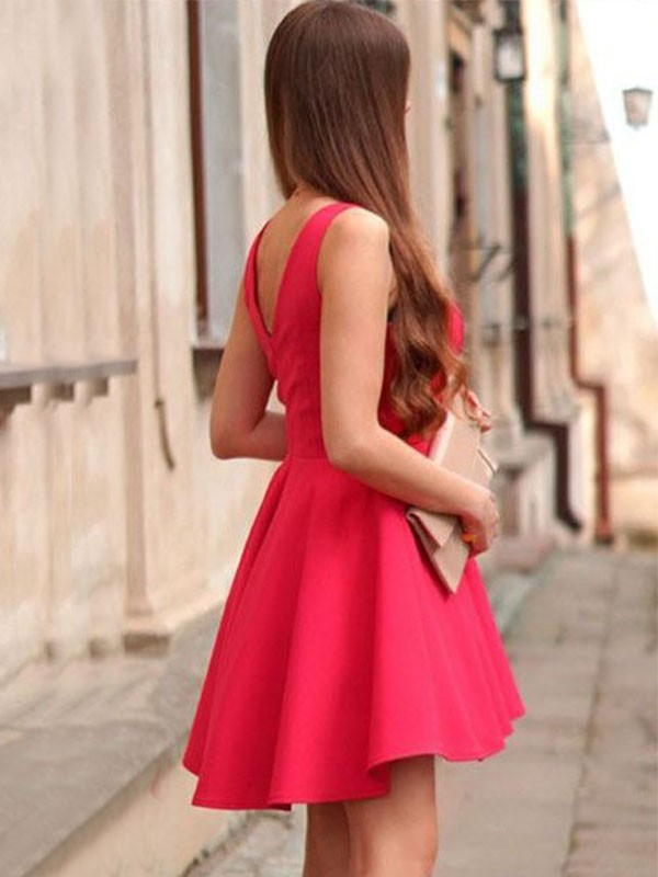 A-Line Satin V-neck Sleeveless Short Dress