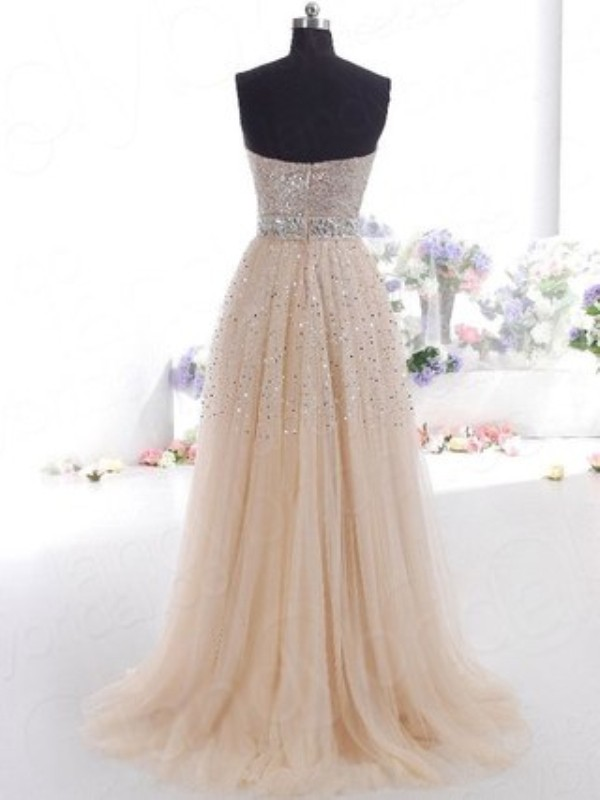 A-Line/Princess Sweetheart Tulle Sleeveless Sweep/Brush Train Dresses