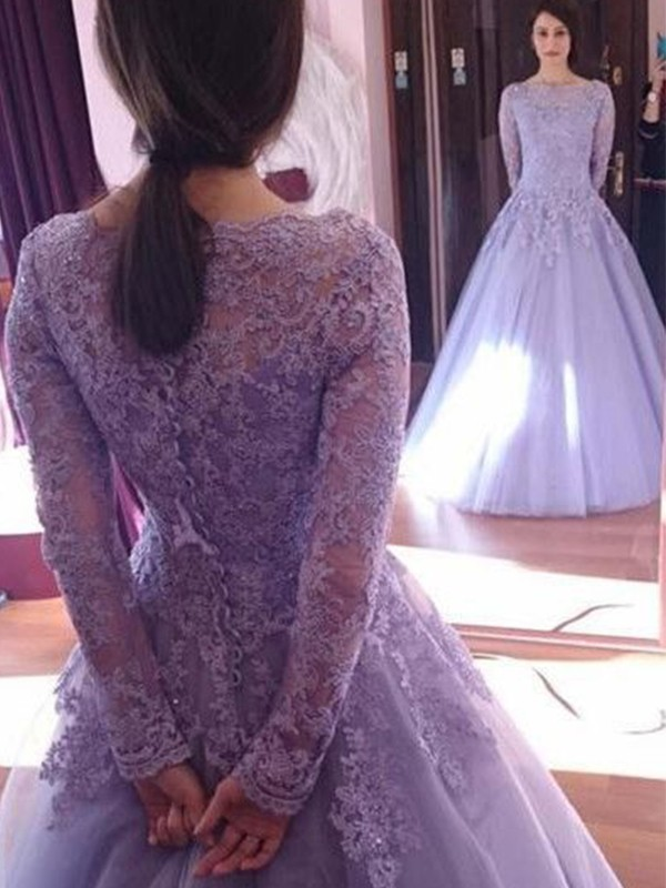 Ball Gown Floor-Length Long Sleeves Tulle Jewel Lace Prom Dresses