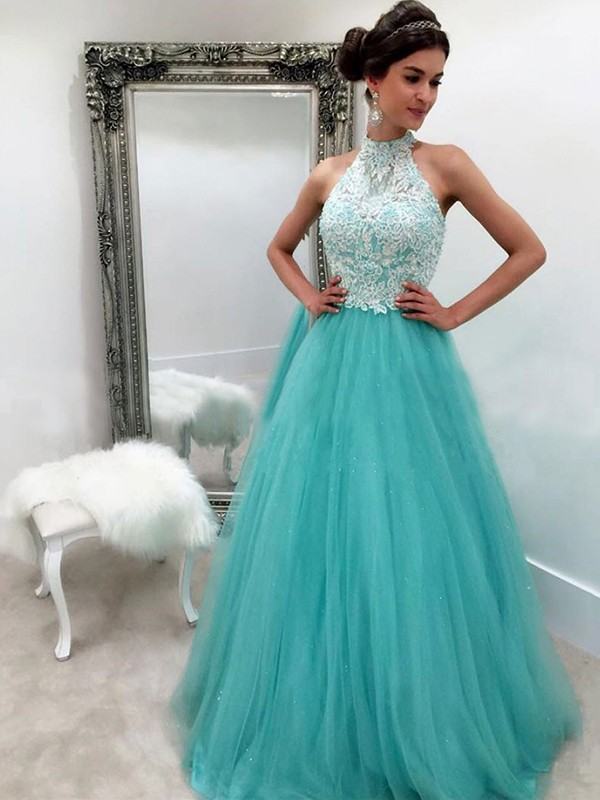 A-Line/Princess Floor-Length Sleeveless Tulle Halter Lace Prom Dresses