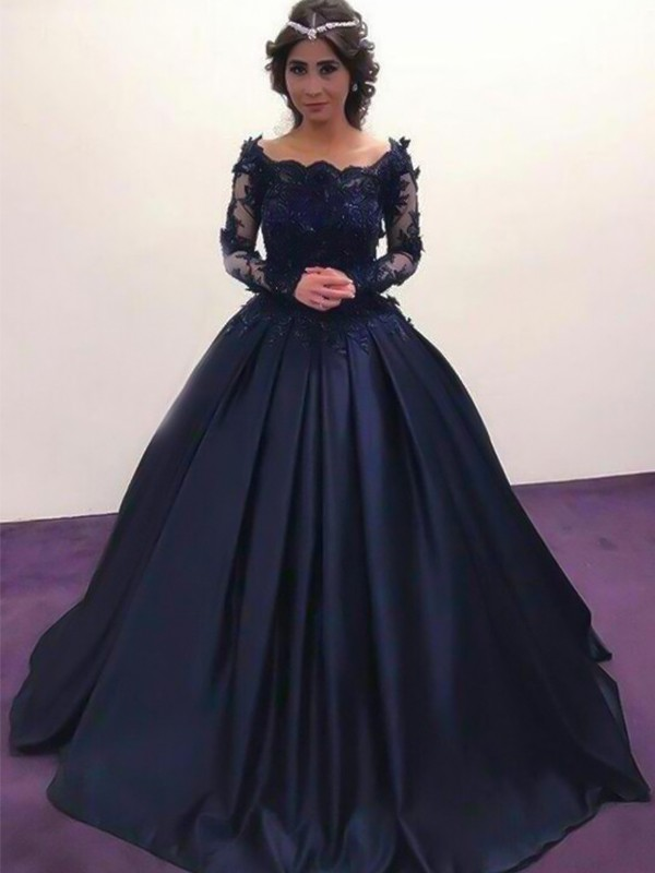 Ball Gown Sweep/Brush Train Long Sleeves Satin Bateau Applique Prom Dresses