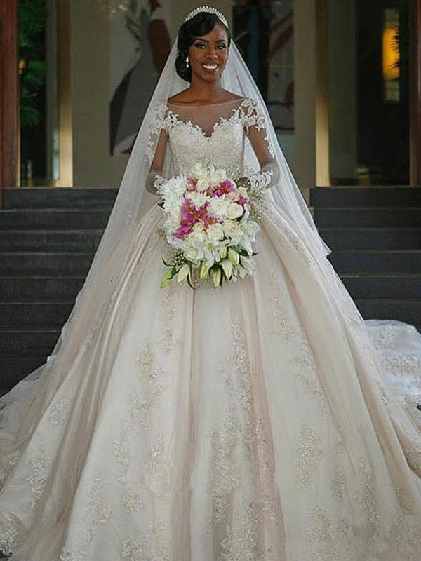 Ball Gown Sweep/Brush Train Long Sleeves Satin Bateau Applique Wedding Dresses