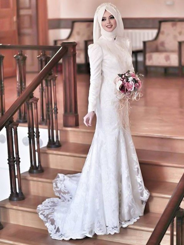 Trumpet/Mermaid Sweep/Brush Train Long Sleeves Tulle High Neck Lace Muslim Wedding Dresses