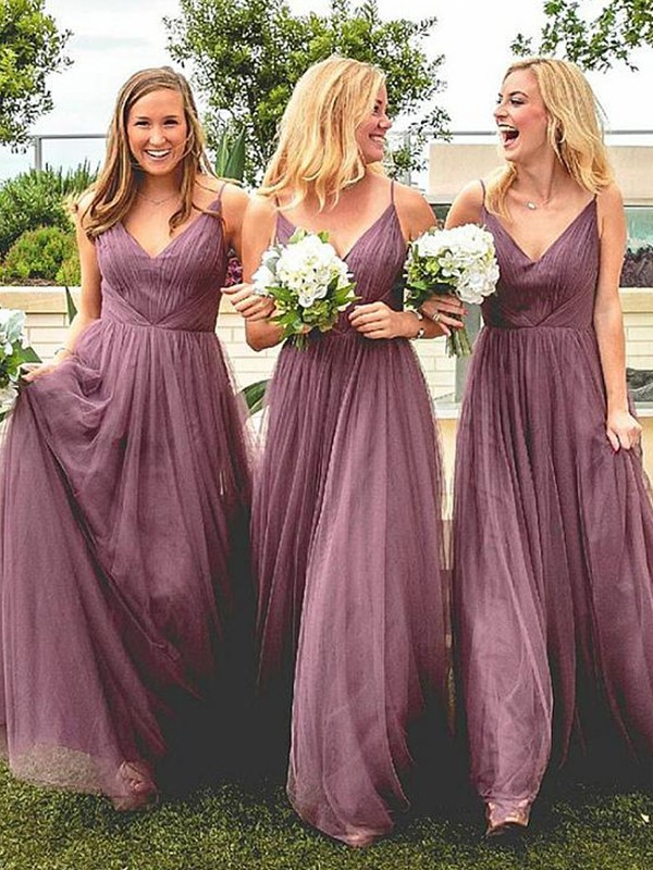 A-Line/Princess Floor-Length Sleeveless Tulle Spaghetti Straps Ruffles Bridesmaid Dresses