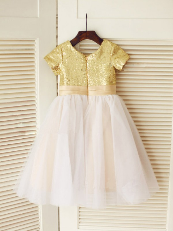 A-line Scoop Short Sleeves Knee-Length Tulle Flower Girl Dress