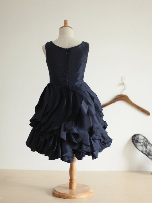 A-line Jewel Tea-length Taffeta Flower Girl Dress